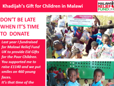 Nine-year-old raises a fantastic £1140 for Malawi Relief Fund