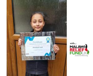 Khadija Gift Certificate 1 Photo Gallery - Malawi Relief Fund UK